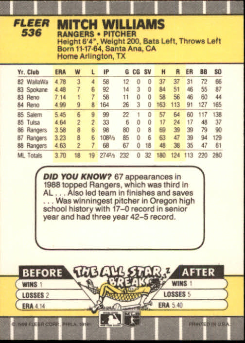 1989 Fleer #536 Mitch Williams back image
