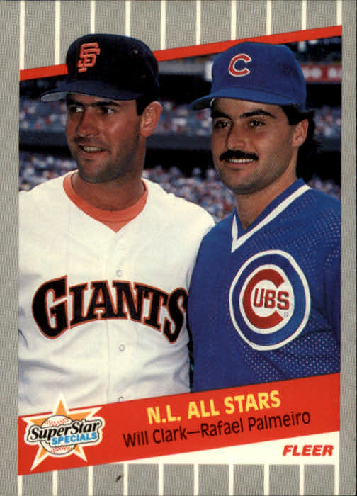 1989 Fleer #631 Will Clark/Rafael Palmeiro UER/(Gallaraga, sic;/Clark 3 consecutive/100 RBI seasons;/third with 102 RBI's)