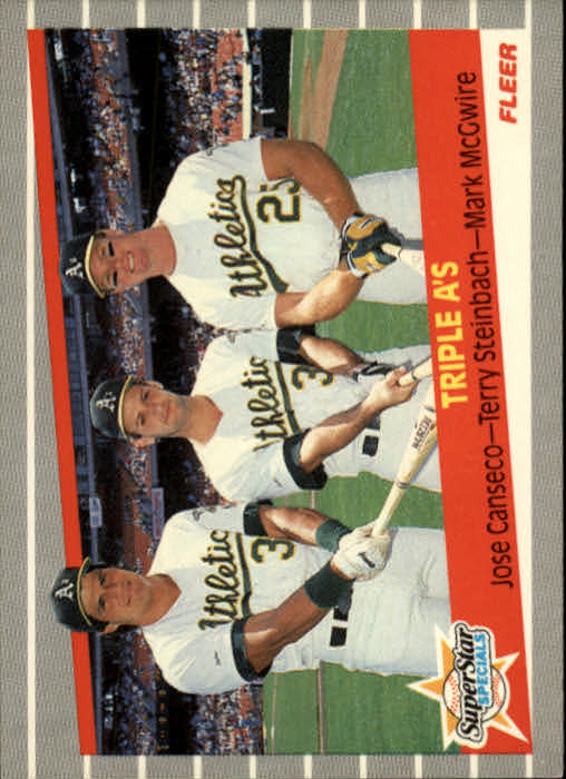 1989 Fleer #634 Jose Canseco/Terry Steinbach/Mark McGwire