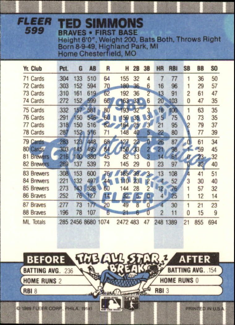 1989 Fleer Glossy #599 Ted Simmons back image
