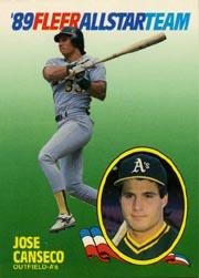 1989 Fleer All-Stars #2 Jose Canseco