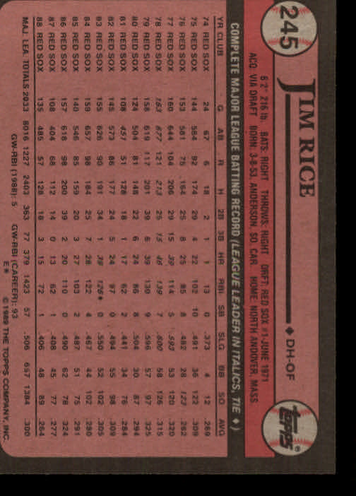 1989 Topps #245 Jim Rice back image
