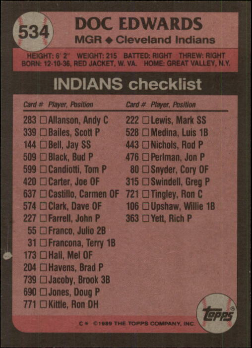 1989 Topps #534 Doc Edwards MG back image