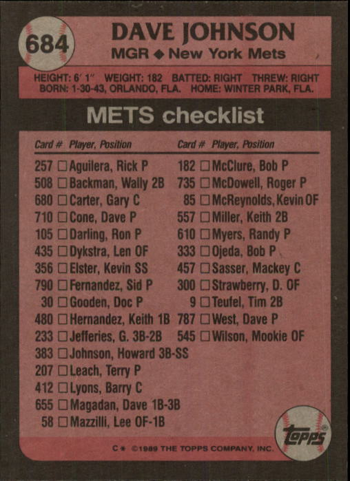 1989 Topps #684 Dave Johnson MG back image