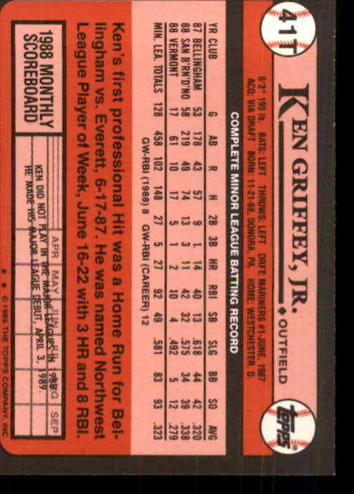 1989 Topps Traded #41T Ken Griffey Jr. RC back image