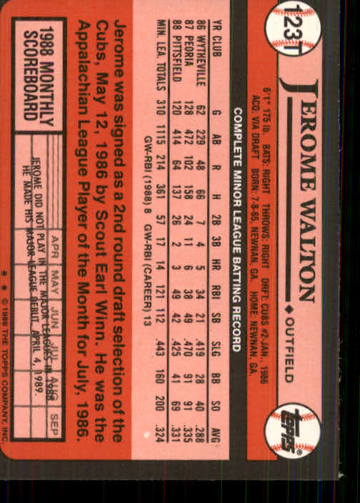 1989 Topps Traded #123T Jerome Walton RC back image