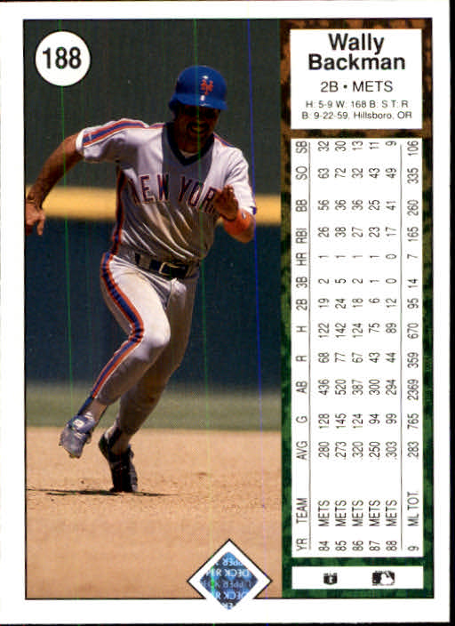 1989 Upper Deck #188 Wally Backman