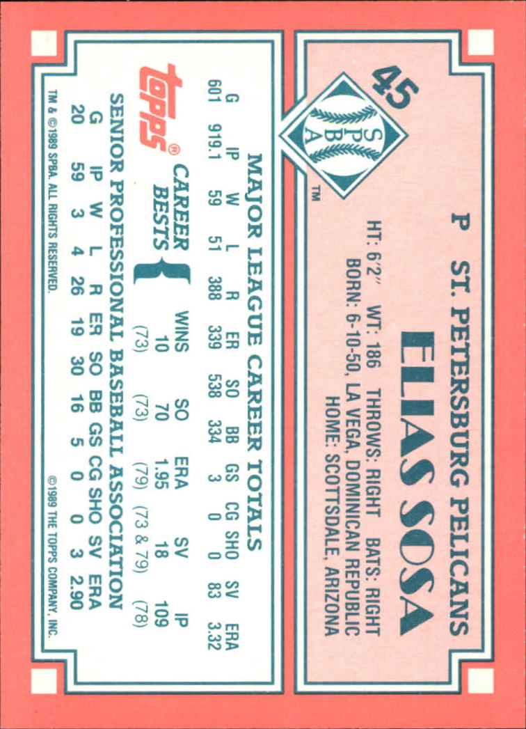 1989-90 Topps Senior League #45 Elias Sosa back image