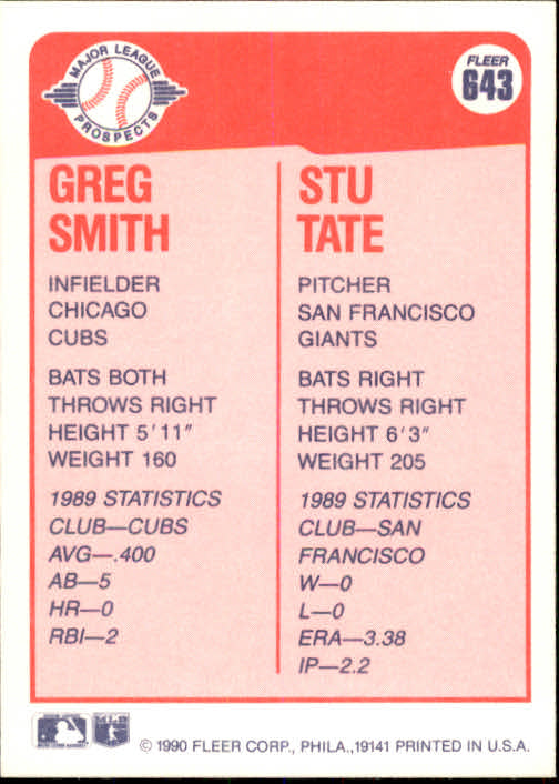 1990 Fleer #643 Greg Smith/Stu Tate back image