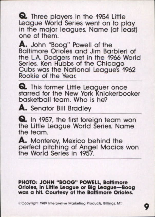 1990 Baseball Wit #9 Boog Powell back image