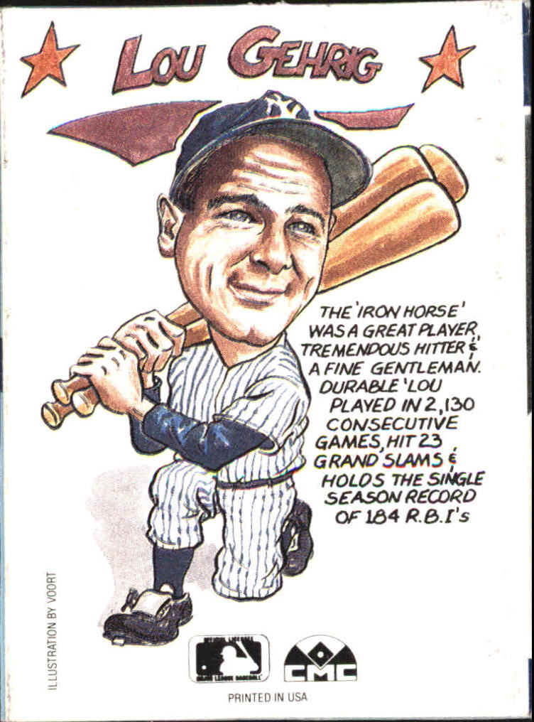 1990 Collect-A-Books #34 Lou Gehrig back image