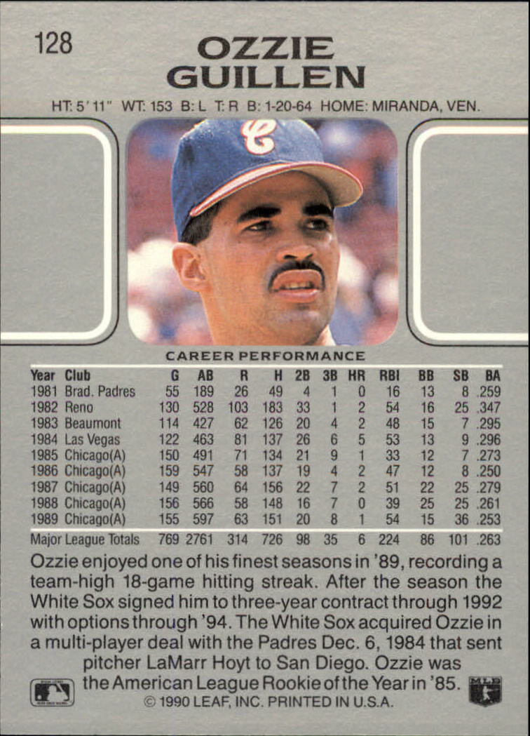 1990 Leaf #128 Ozzie Guillen back image