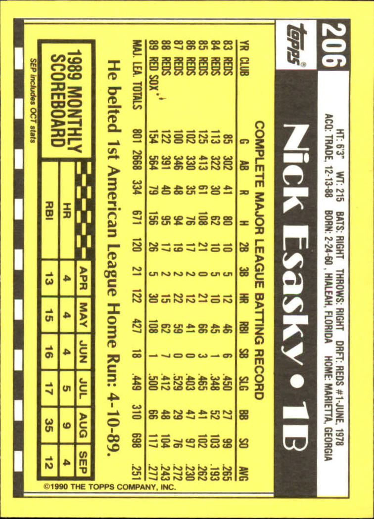 1990 Topps Tiffany #206 Nick Esasky back image