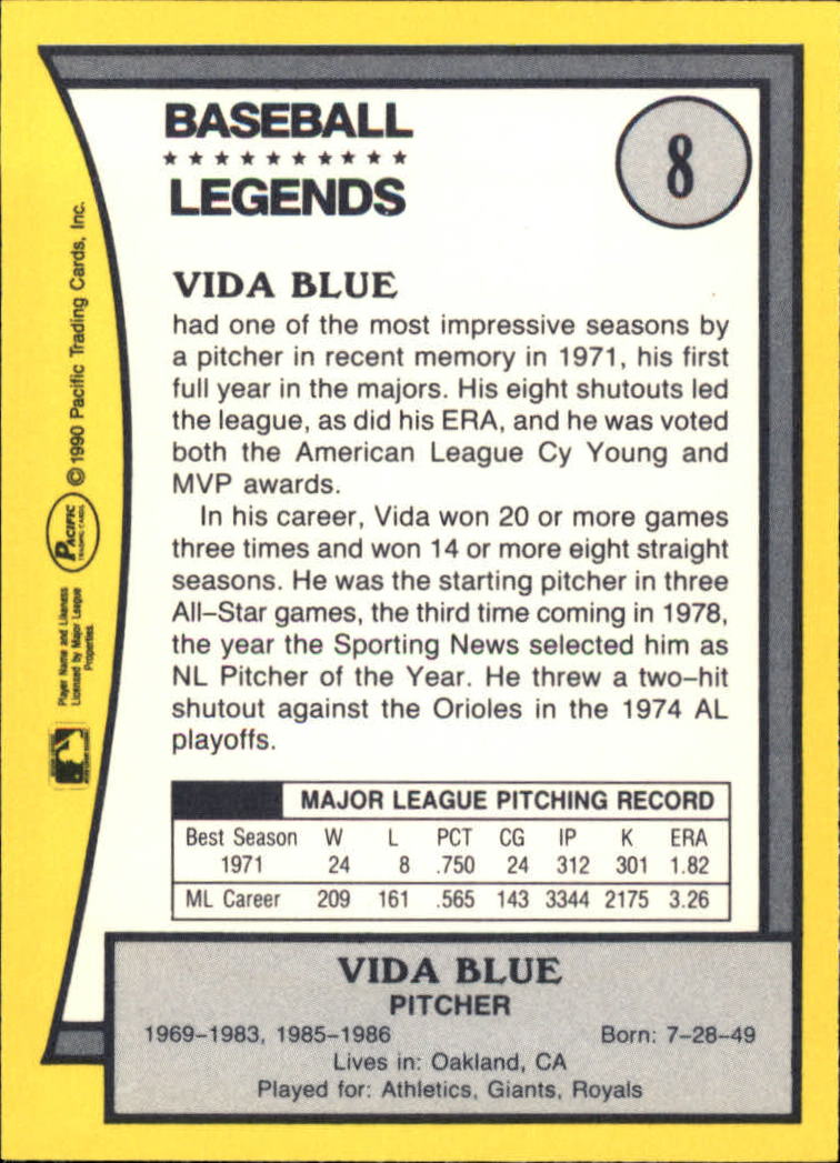 1990 Pacific Legends #8 Vida Blue back image