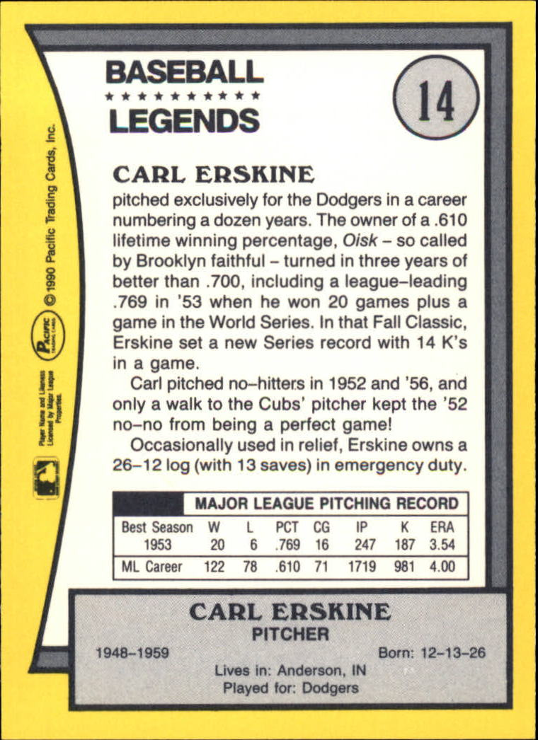 1990 Pacific Legends #14 Carl Erskine back image