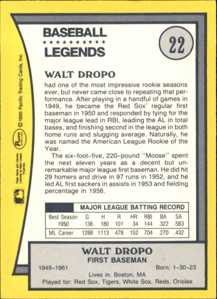 1990 Pacific Legends #22 Walt Dropo back image
