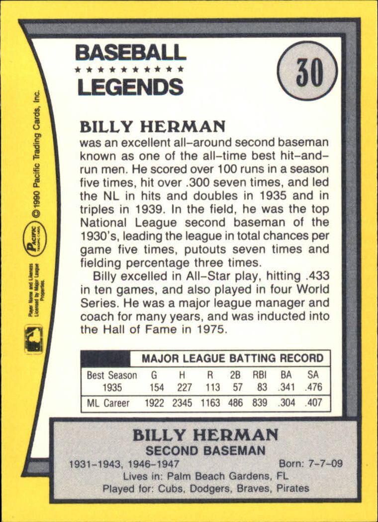 1990 Pacific Legends #30 Billy Herman back image