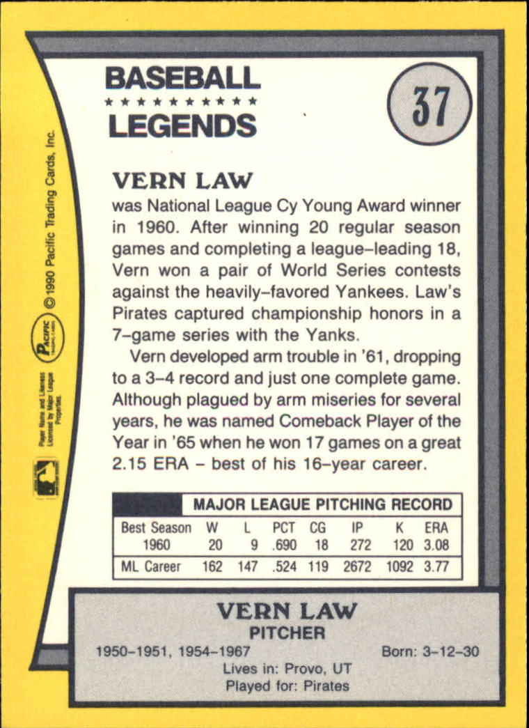 1990 Pacific Legends #37 Vern Law back image