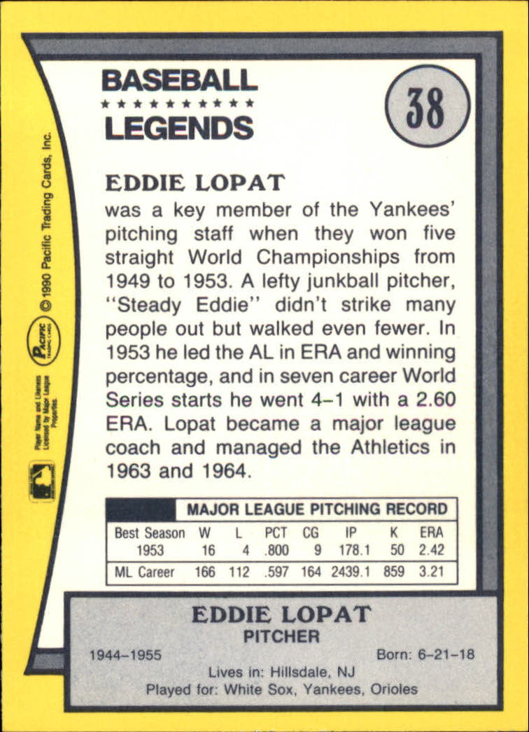 1990 Pacific Legends #38 Ed Lopat back image