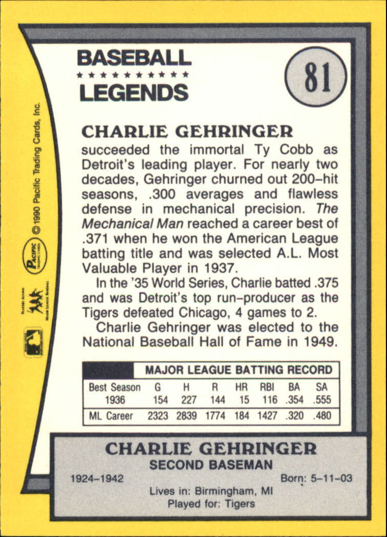 1990 Pacific Legends #81 Charlie Gehringer