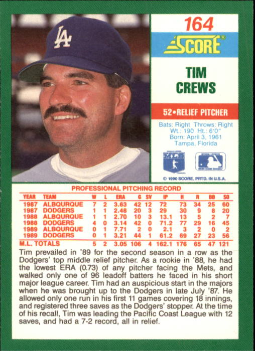 1990 Score #164 Tim Crews back image