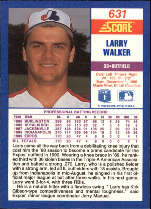 1990 Score #631 Larry Walker UER RC/Uniform number 55 on front/and 33 on back;/Home is Maple Ridge,/not Maple River back image