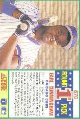 1990 Score #670 Earl Cunningham RC back image