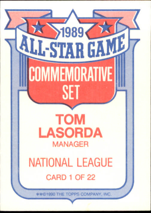 1990 Topps Glossy All-Stars #1 Tom Lasorda MG back image