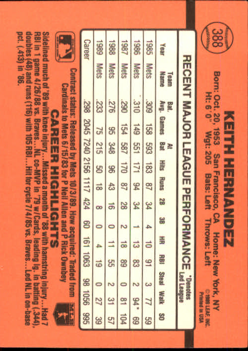 1990 Donruss #388 Keith Hernandez back image