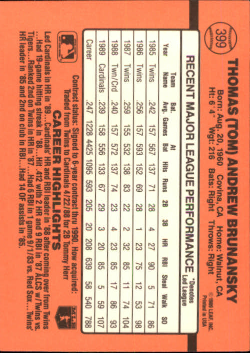 1990 Donruss #399 Tom Brunansky back image