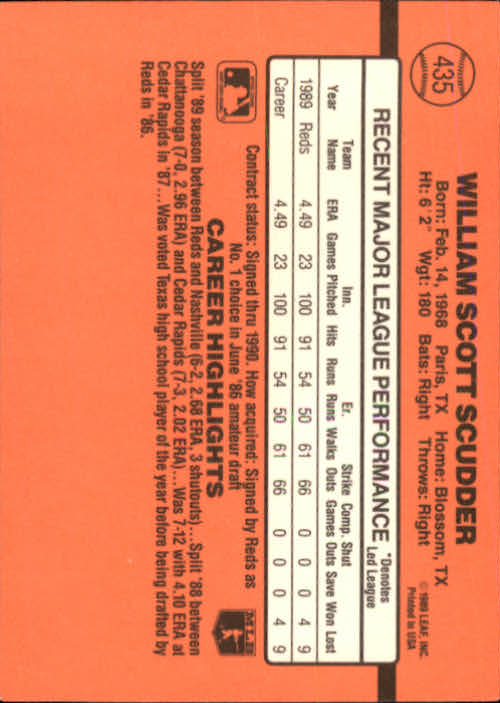 1990 Donruss #435 Scott Scudder back image