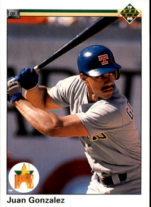 1990 Upper Deck #72 Juan Gonzalez UER RC/(135 games for Tulsa/in '89, should be 133)