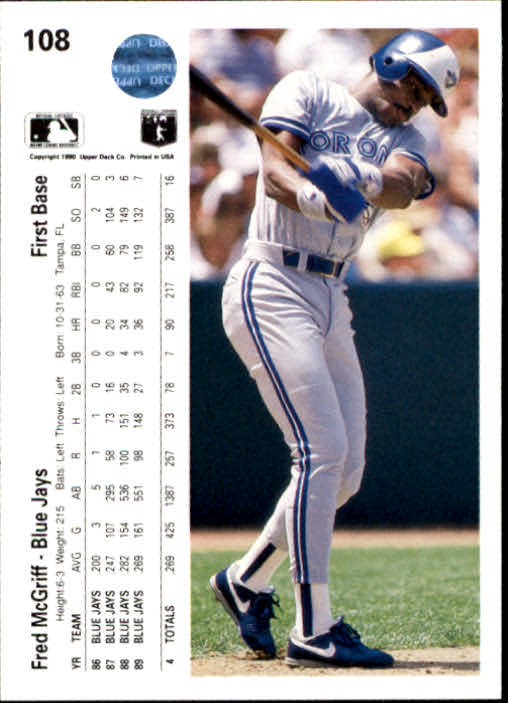 1990 Upper Deck #108 Fred McGriff back image