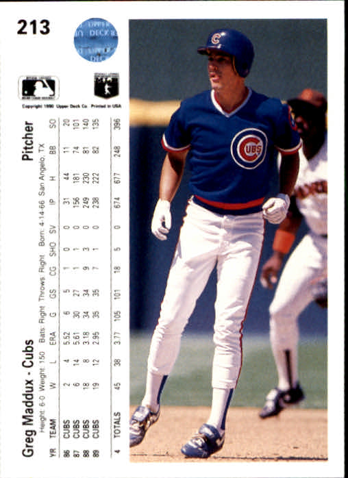 1990 Upper Deck #213 Greg Maddux back image