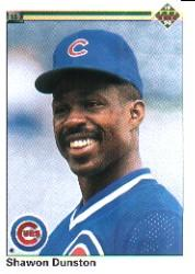 1990 Upper Deck #231 Shawon Dunston UER/('89 stats are/Andre Dawson's)