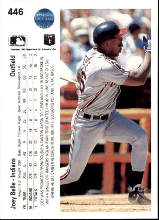 1990 Upper Deck #446 Joey Belle back image
