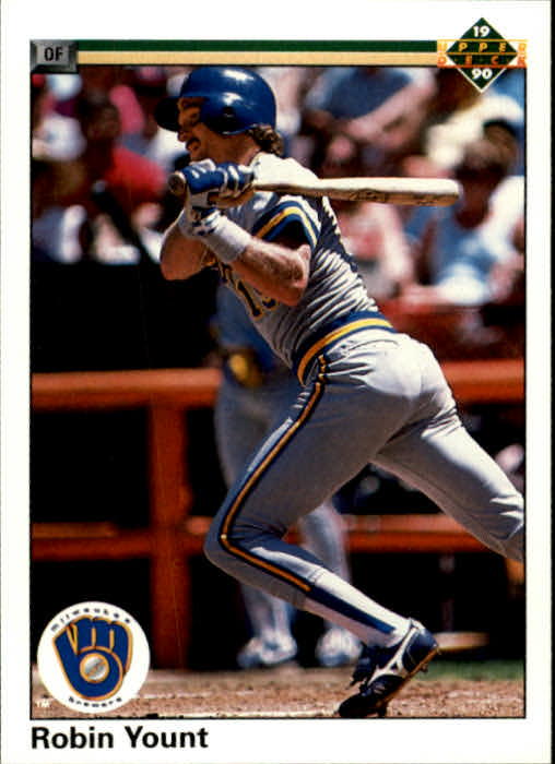 1990 Upper Deck #567 Robin Yount UER/(7602 career hits,/should be 2606)/In addition, the career doubles are incorrect
