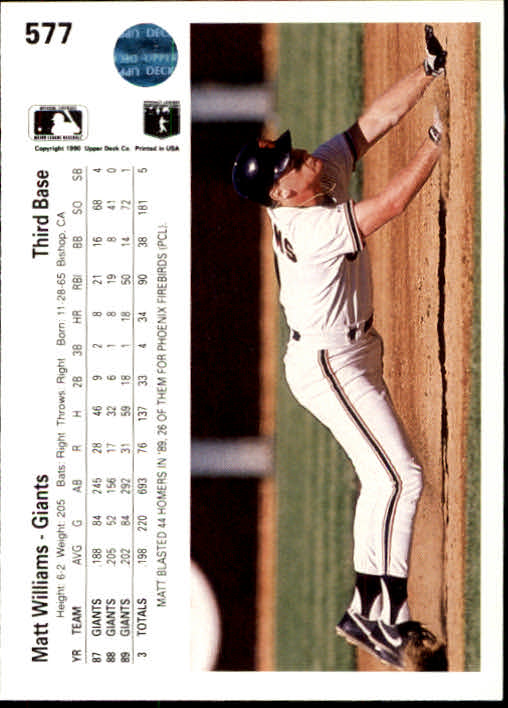 1990 Upper Deck #577 Matt Williams back image