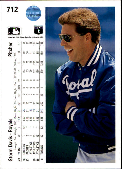 1990 Upper Deck #712 Storm Davis back image