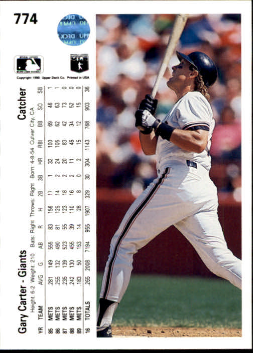 1990 Upper Deck #774 Gary Carter back image