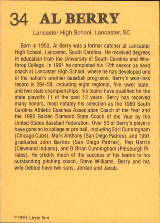1991 Little Sun High School Prospects #34 Al Berry CO
