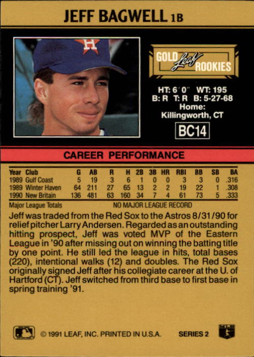 1991 Leaf Gold Rookies #BC14 Jeff Bagwell back image