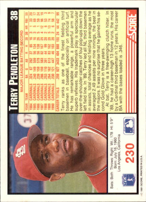 1991 Score #230 Terry Pendleton back image