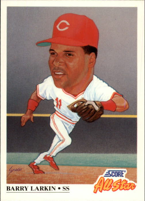 1991 Score #666 Barry Larkin AS UER/(Line 13& coolly/misspelled