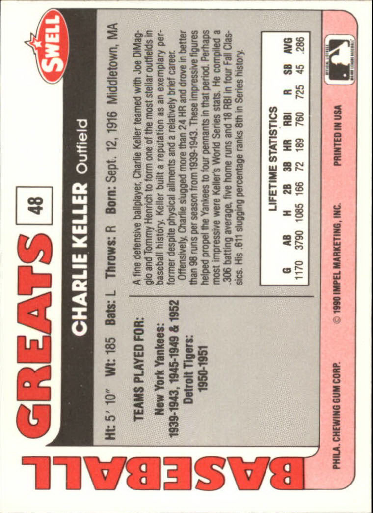 1991 Swell Baseball Greats #48 Charlie Keller back image