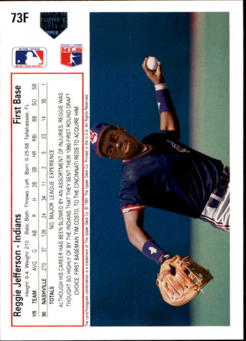 1991 Upper Deck Final Edition #73F Reggie Jefferson back image