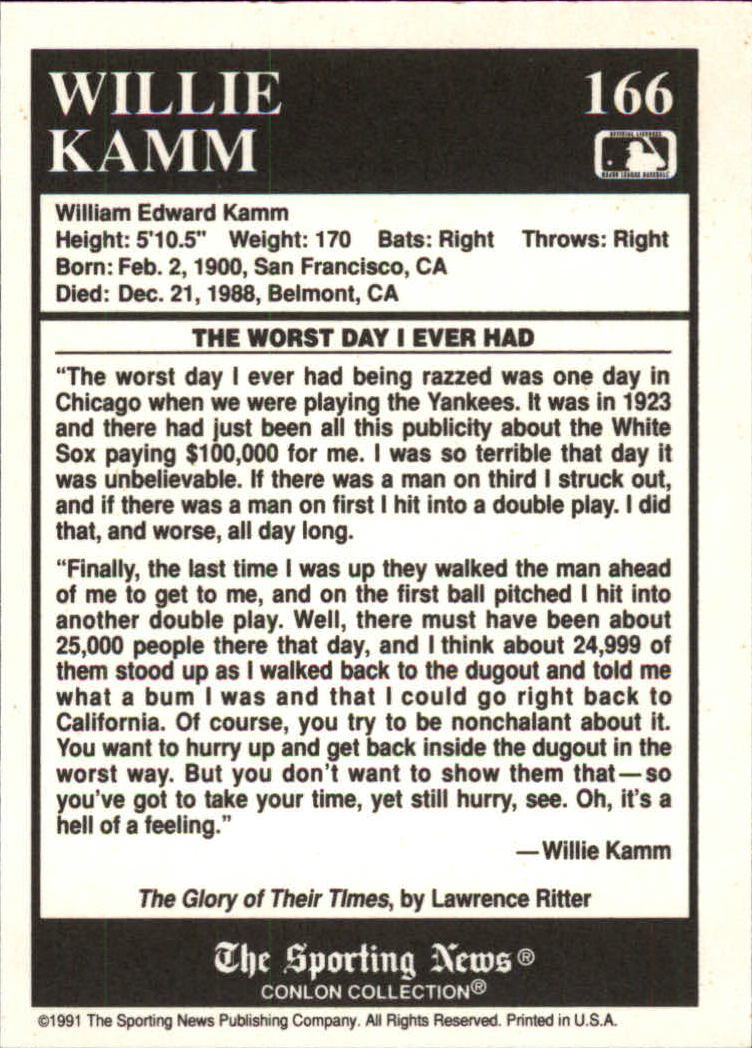 1991 Conlon TSN #166 Willie Kamm Story back image