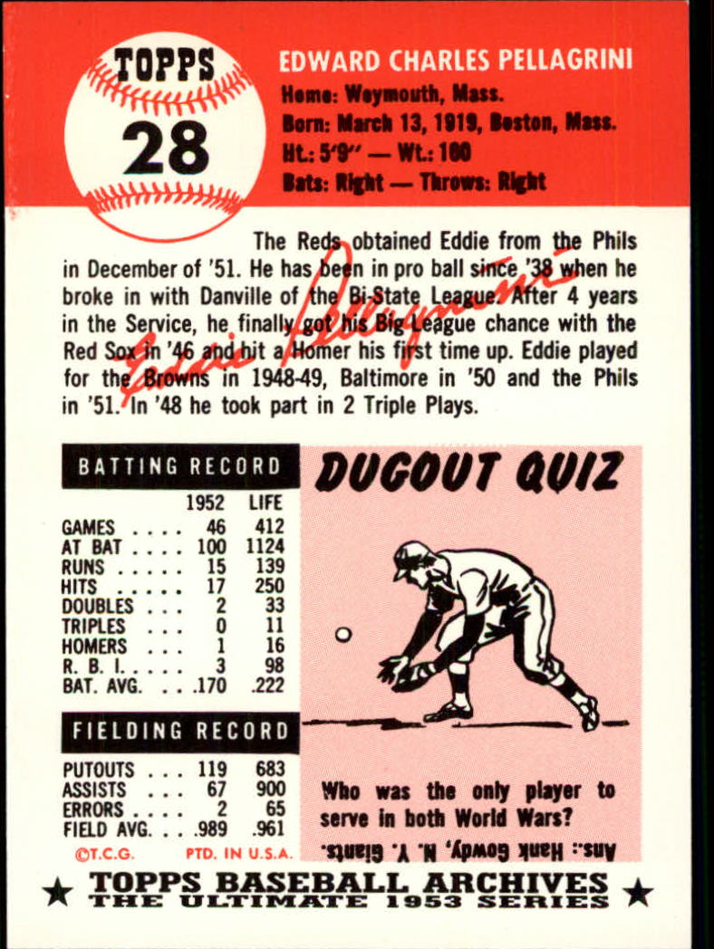 1991 Topps Archives 1953 #28 Eddie Pellagrini back image
