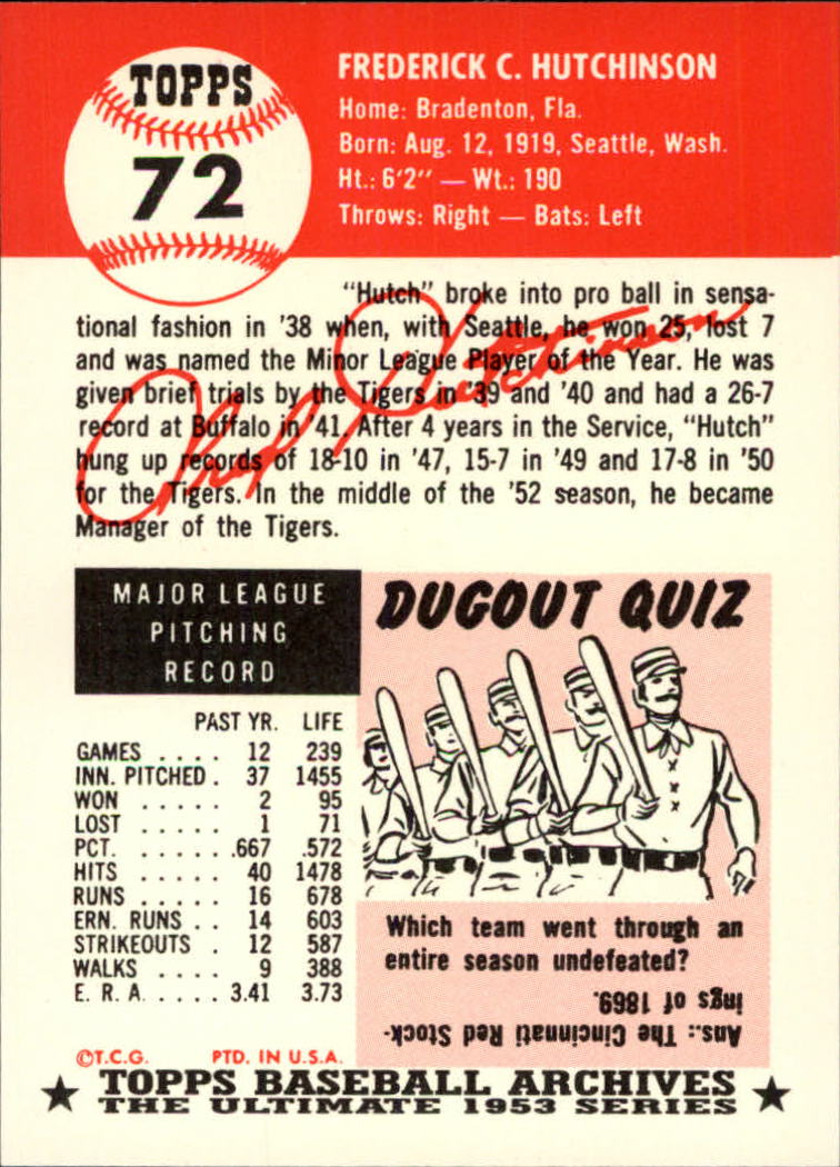 1991 Topps Archives 1953 #72 Fred Hutchinson back image