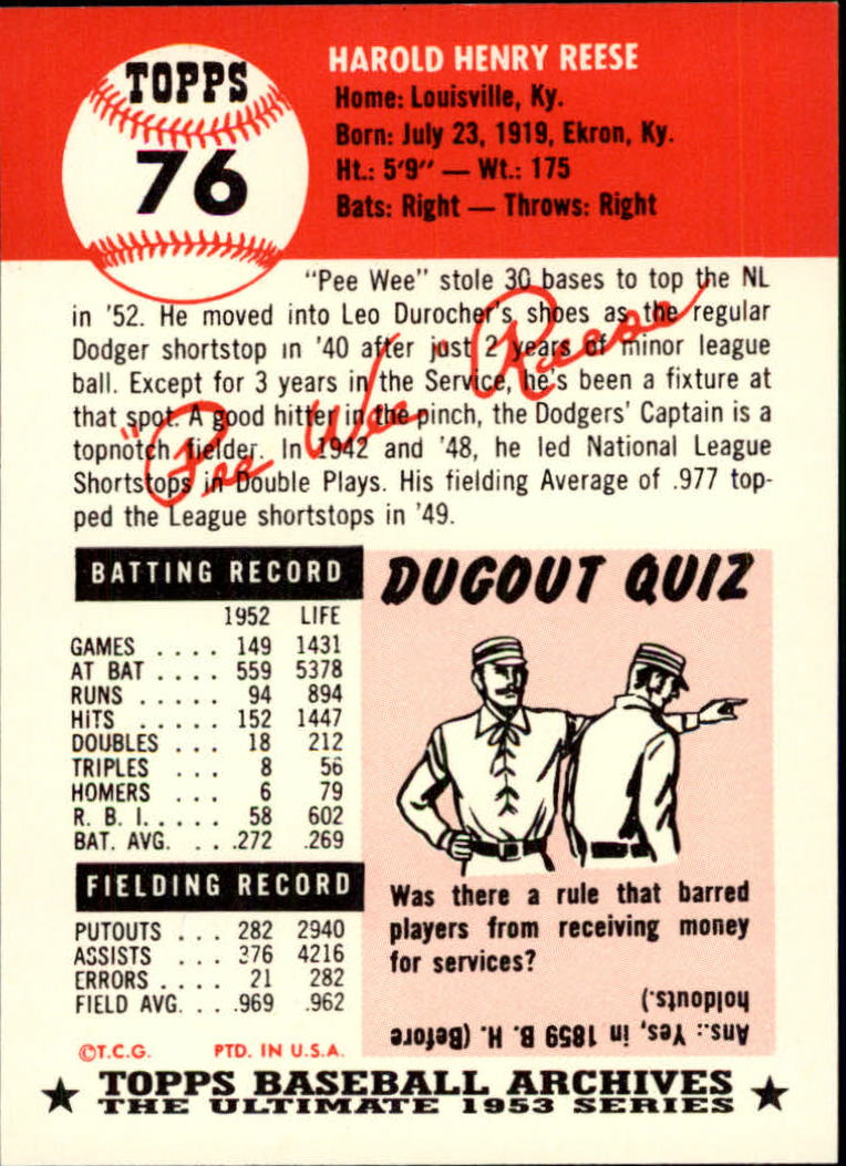 1991 Topps Archives 1953 #76 Pee Wee Reese back image